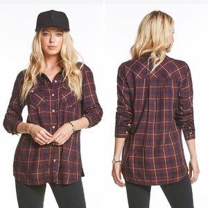 Jessica Simpson Petunia Button-Down Plaid Shirt 1X
